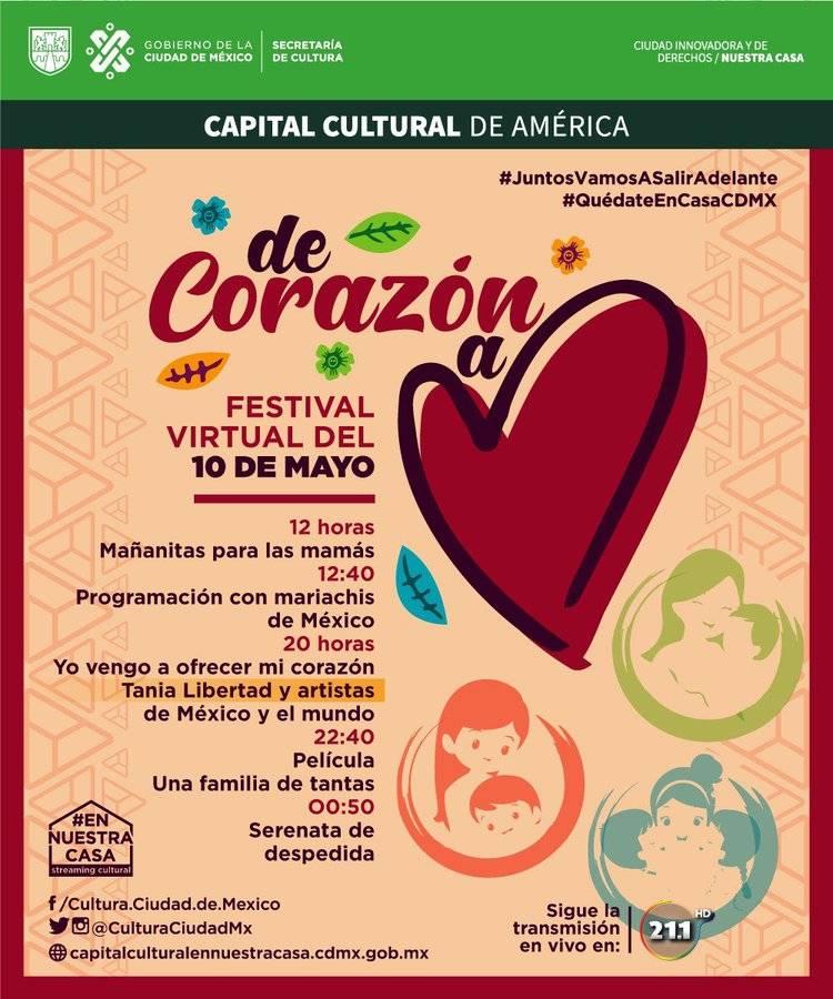 De corazón a corazón, festival virtual de la CDMX para celebrar el Día de las Madres