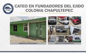 Aseguran vehículos robados en un inmueble en Puebla