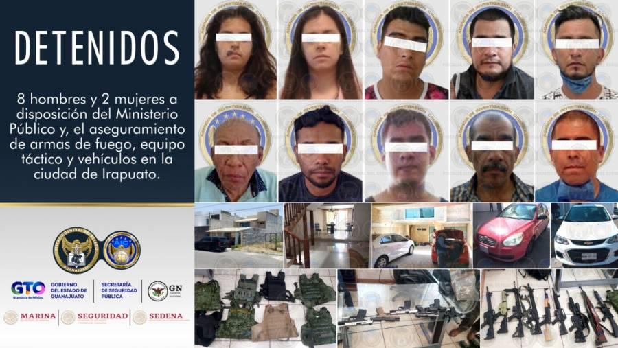 Detienen a célula criminal en Villas de Irapuato, Guanajuato