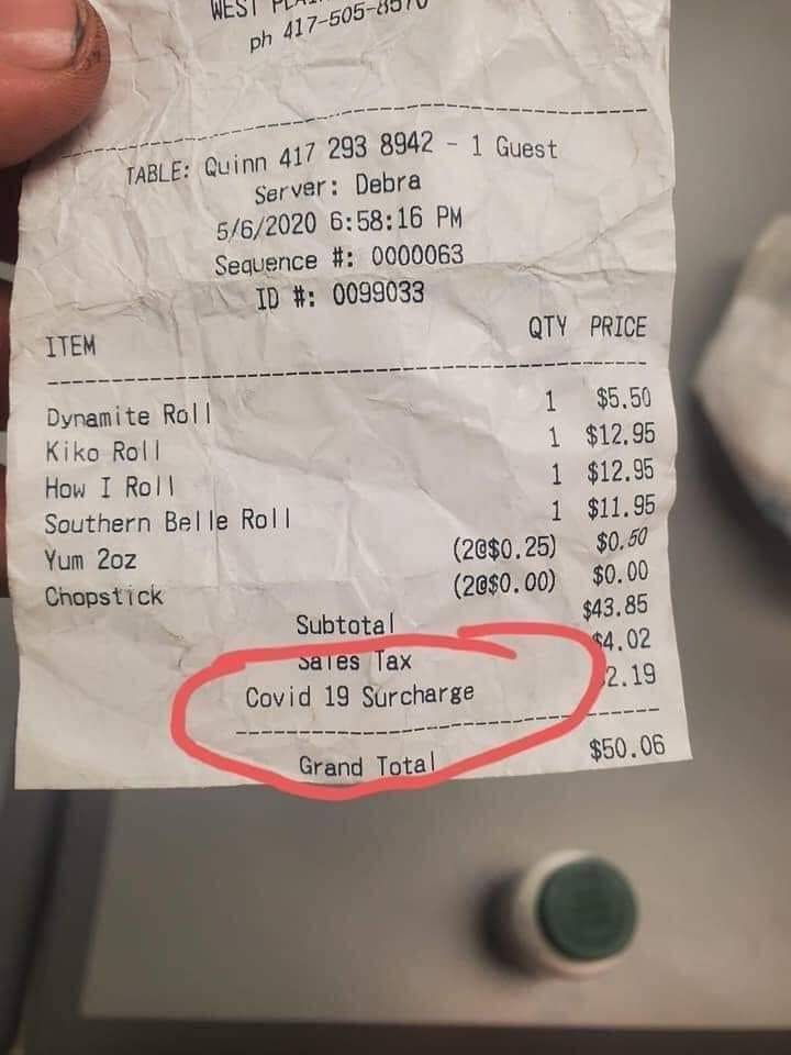 Restaurante en EE. UU. hace cargo extra por Covid-19