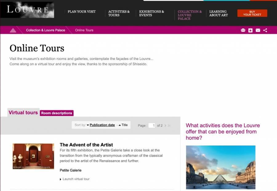 Exposiciones de Louvre desde casa