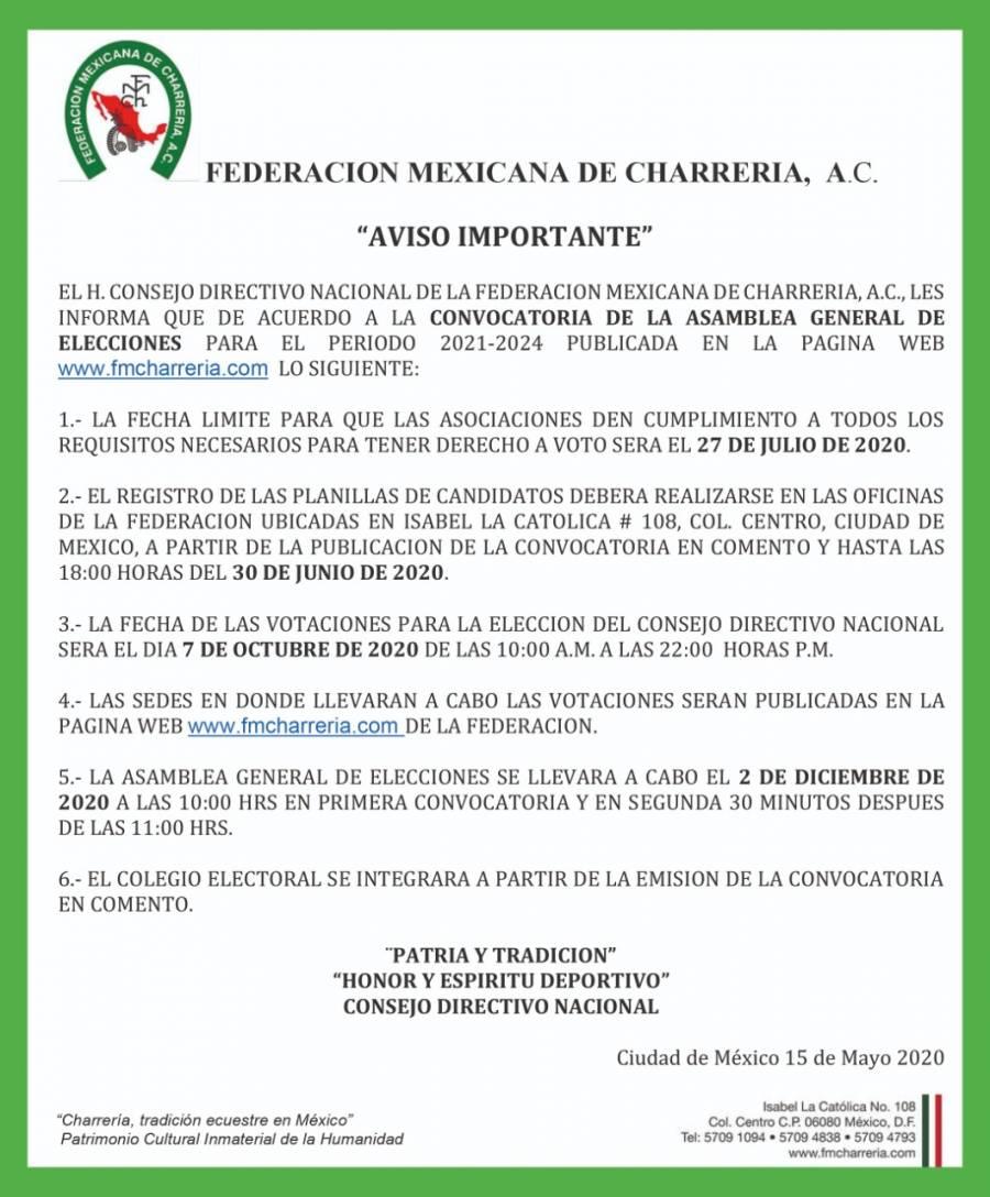 Prepara Federación Mexicana de Charrería, A.C. renovación del Consejo Directivo Nacional para el periodo 2021-2024.