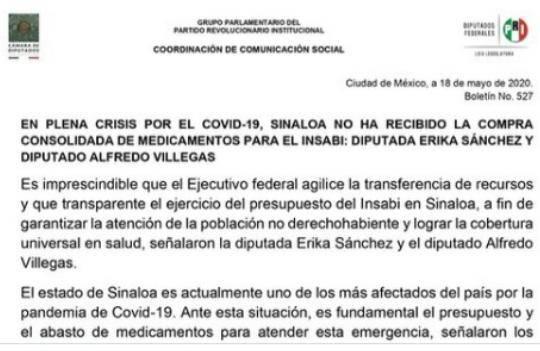 Piden apoyo del Insabi para Sinaloa