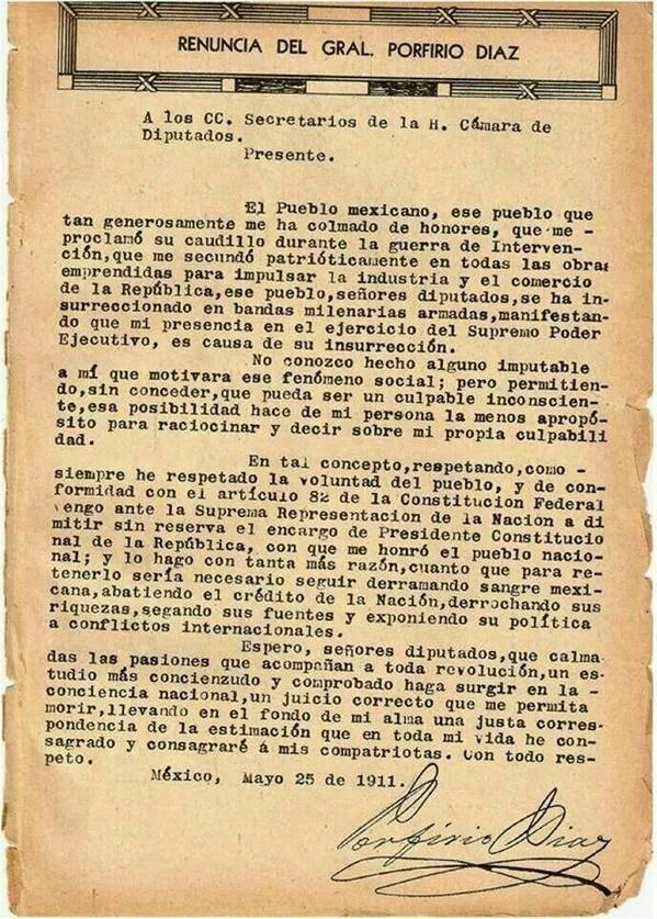 Porfirio Díaz, acervo bibliográfico de su renuncia