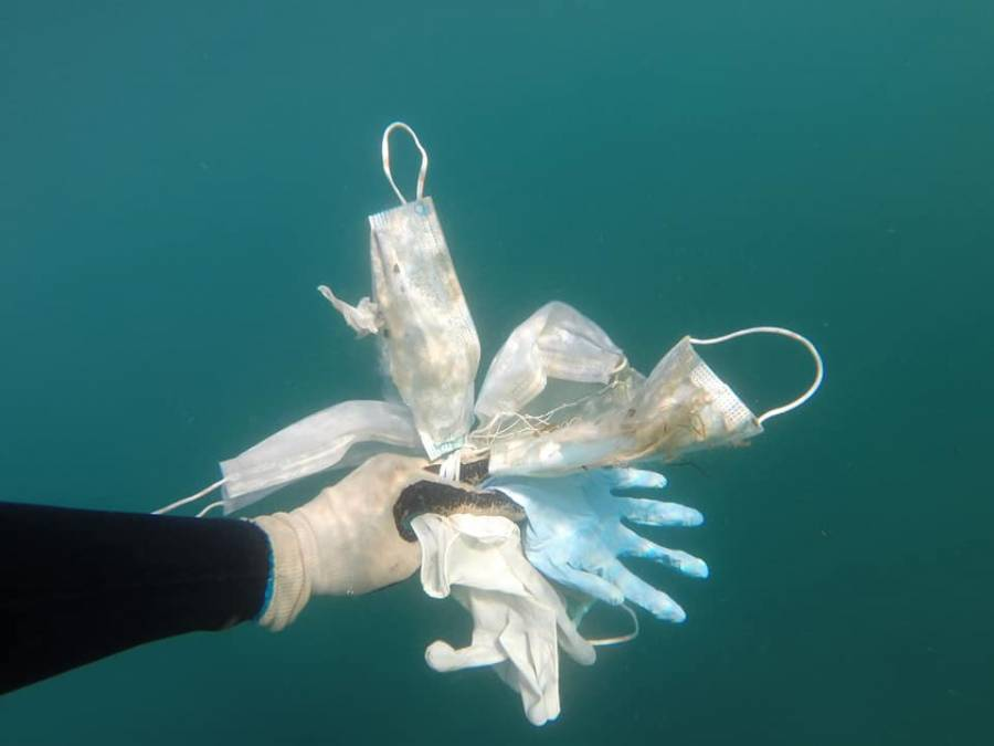 Cubrebocas y guantes se convierten en basura en el Mar Mediterraneo por Covid-19
