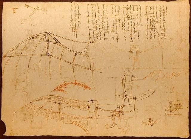 """""""Códice sobre el vuelo de los pájaros"""", estudio de Leonardo Da Vinci"""