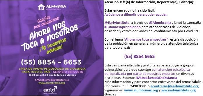 """ALUMBRA lanza campaña """"Estamos Aprendiendo"""" para prevenir violencia familiar"""