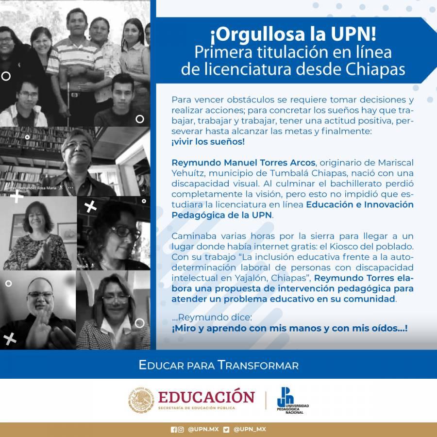 Presenta estudiante con discapacidad visual primer examen profesional en línea de la UPN