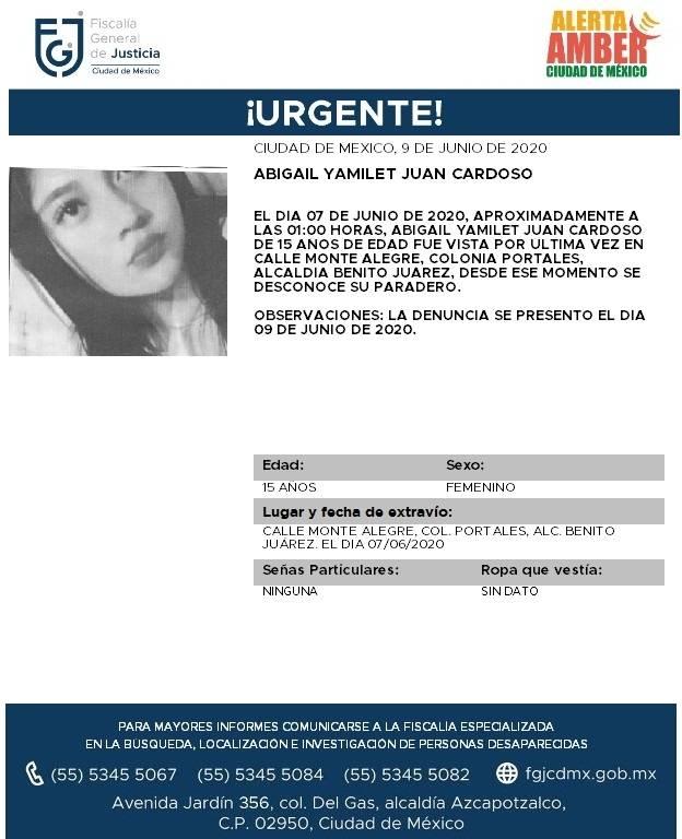Alerta Amber para localizar a Abigail Yamilet Juan Cardoso