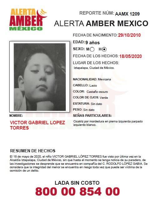 Buscan a Víctor Gabriel López Torres, de 9 años, desaparecido en CDMX