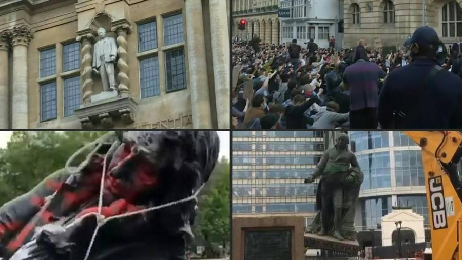 Caen estatuas de esclavistas
