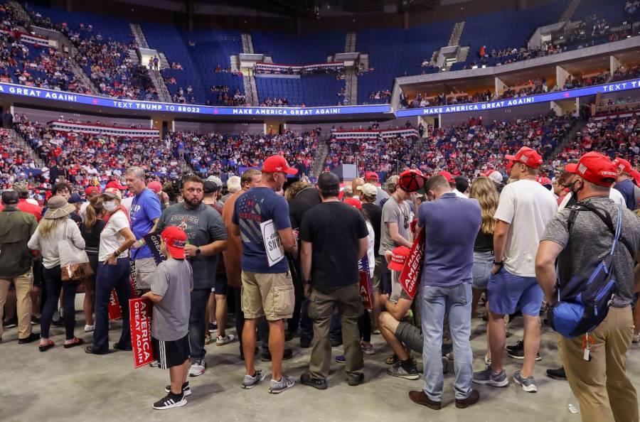 El primer mitin de Trump no logró llenar las espectativas