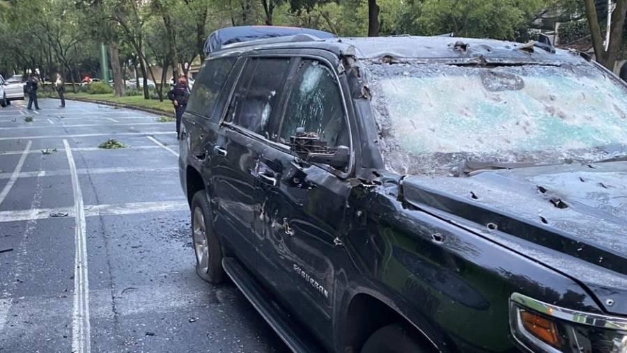 Así quedó la camioneta de García Harfuch tras el atentado [Galería]