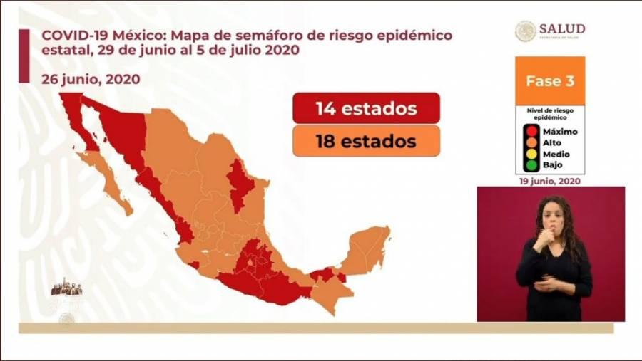 Semáforo Covid-19 en México: 18 entidades estarán en color naranja y 14 en rojo