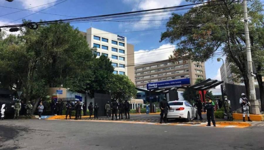 Despliegan fuerte operativo de seguridad en hospital donde atienden a García Harfuch