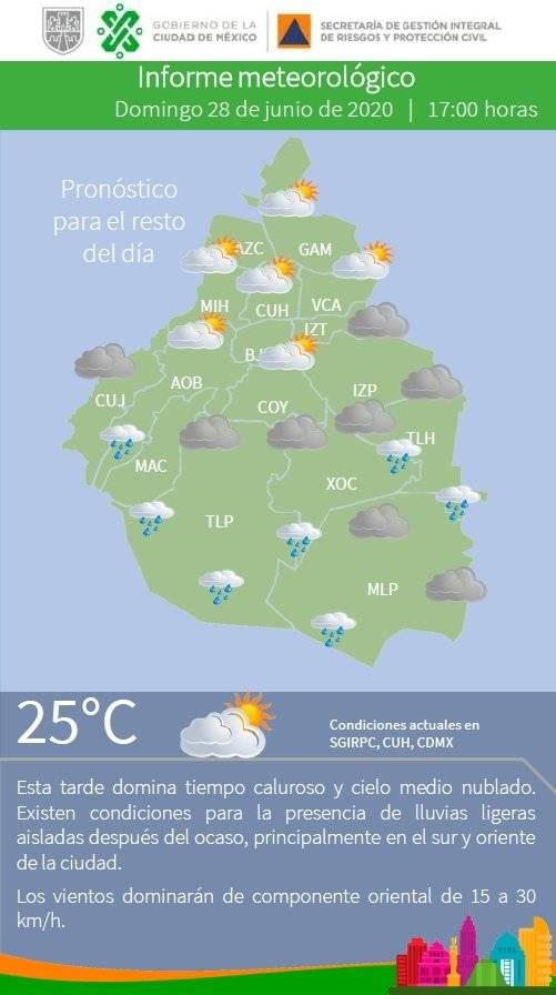 Pronostican noche lluviosa en la CDMX