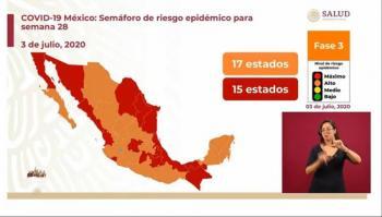 Dan a conocer el semáforo epidemiológico que aplicara del 6 al 12 de julio en México
