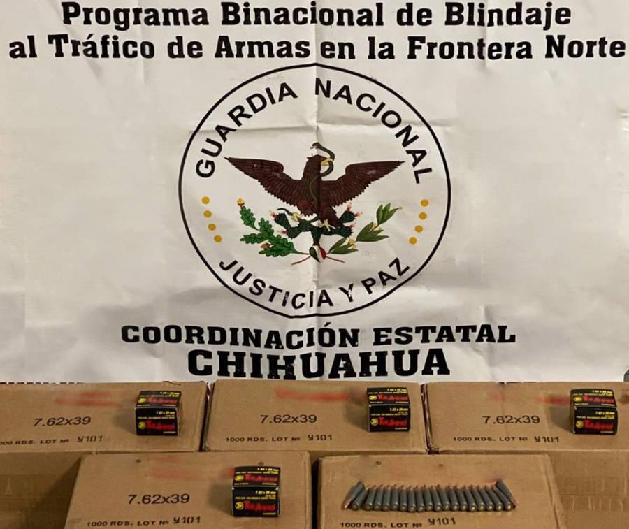 Autoridades detienen a estadounidense con cinco mil cartuchos útiles en Chihuahua