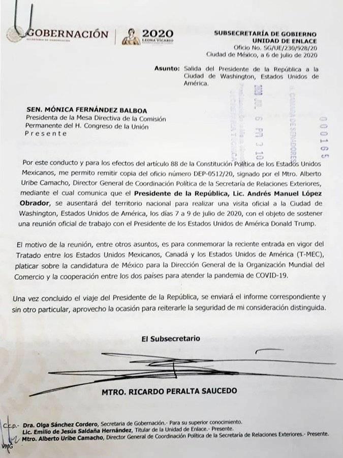 Envía López Obrador comunicación por ausencia a la Comisión Permanente