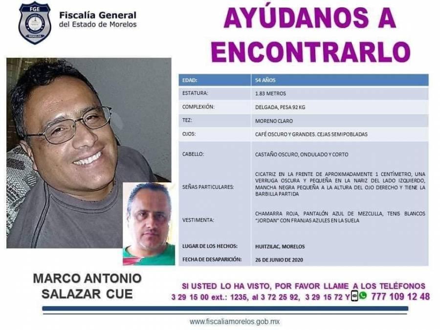 Buscan a Marco Antonio Salazar Cue, desapareció en Morelos