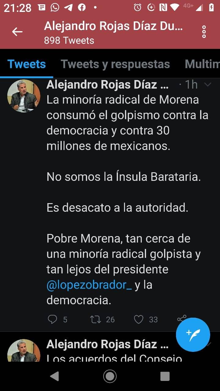 Incumple dirigencia interina de Morena sentencia de TEPJF: Rojas Díaz Durán