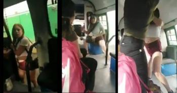 Mujer que bebía cerveza golpea a pasajera de transporte público; la bautizan como