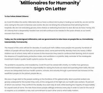 80 multimillonarios piden pagar  más impuestos para librar la crisis