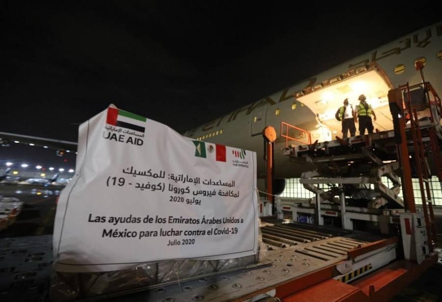México recibe insumos médicos contra Covid-19 de Emiratos Árabes Unidos