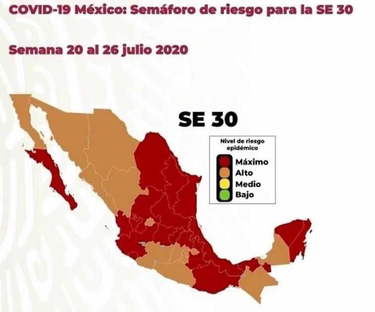 Semáforo epidemiológico, 18 estados en rojo