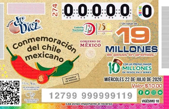 Lotería Nacional presenta billete conmemorativo dedicado al chile mexicano