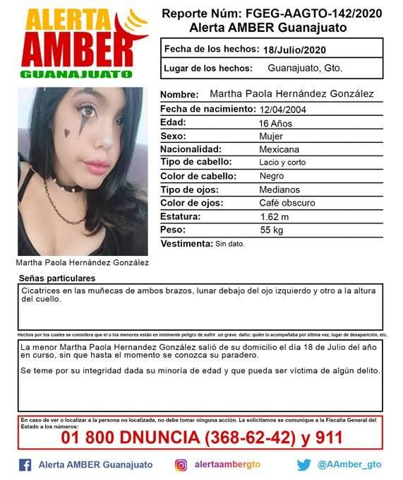 Activan Alerta Amber para localizar a Martha Paola Hernández