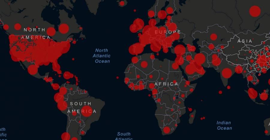 Este mapa muestra los casos de Covid-19 en tiempo real a nivel mundial