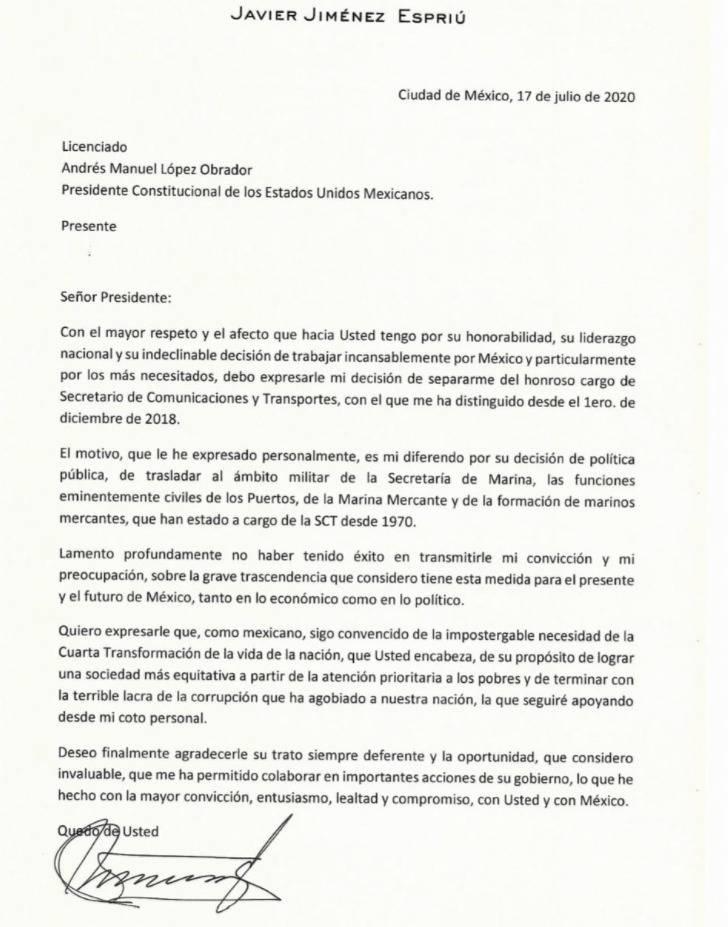 Se difunde la carta de renuncia Javier Jimenez Espriú