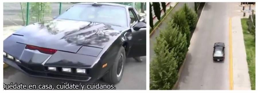 Por Covid-19 Kitt 'el auto increíble' concientiza a la gente en Xochimilco