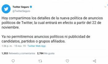 DESDE 2019 SE RETIRÓ PROPAGANDA, RESPONDE TWITTER