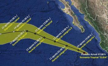 """Prevén que """"Elida"""" se convierta en huracán categoría 1 este lunes"""