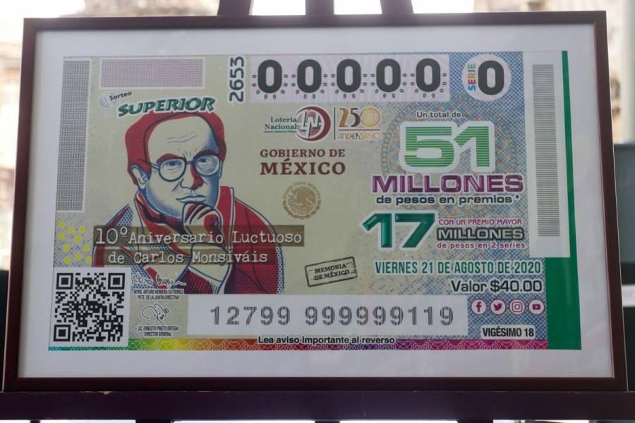 Lanzarán billete de lotería para conmemorar a Carlos Monsiváis
