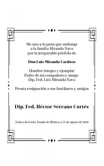 El Dip. Héctor Serrano se solidariza con la familia Miranda Nava