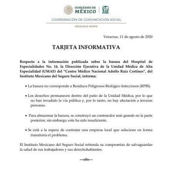 Informan que bolsas de desechos almacenados en Hospital de Veracruz no son tóxicas