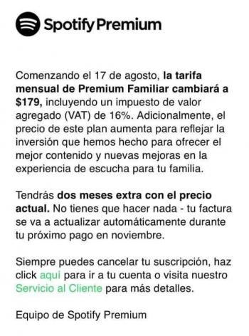 Spotify aumenta precios en México por IVA a plataformas digitales