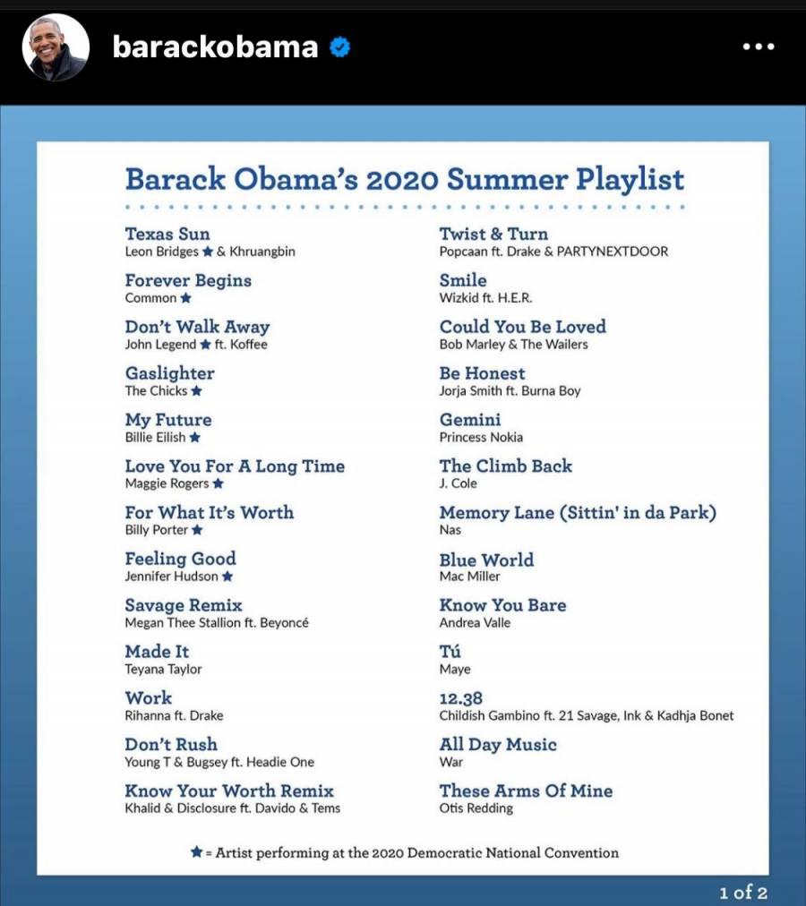 Obama escucha este verano a J Balvin, Billie Elish y Rihanna