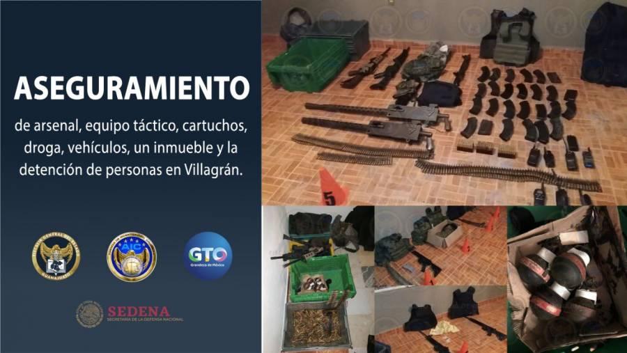En un cateo a casa de seguridad del CSRDL decomisan arsenal en Guanajuato