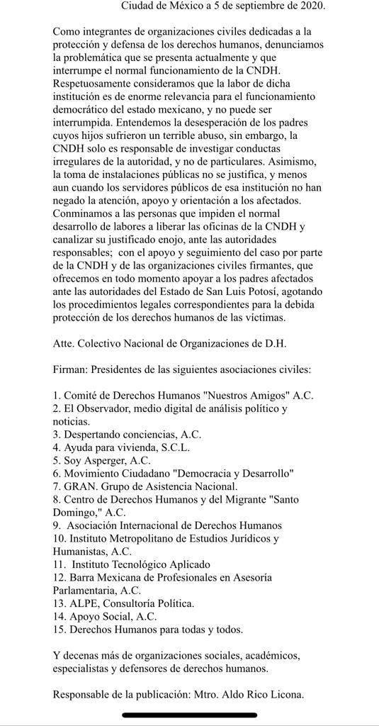 Respaldan organizaciones de derechos humanos a CNDH