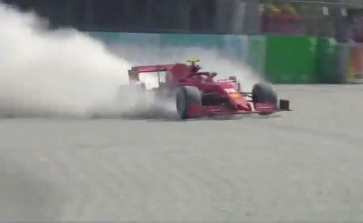 Así fue el choque de Leclerc en el GP de Italia