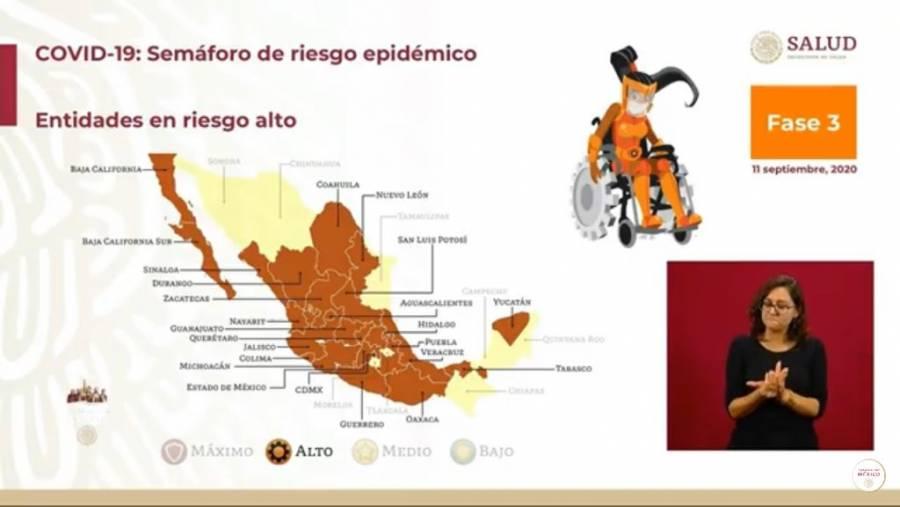 Semáforo epidemiológico nacional sin máximo riesgo epidemiológico