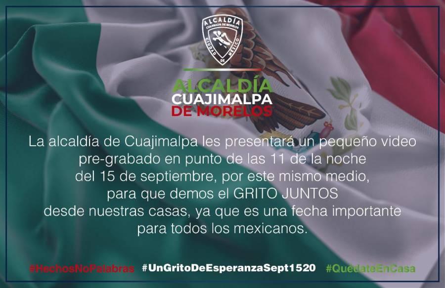 Alcaldía Cuajimalpa celebra Independencia con Grito virtual