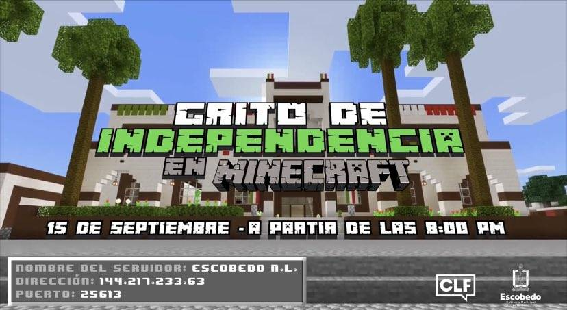 Municipio de Escobedo realizará Grito de Independencia en Minecraft