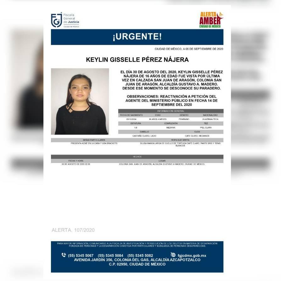 Alerta Amber: Ayuda a localizar a Keylin Giselle Pérez Nájera, extraviada en la GAM