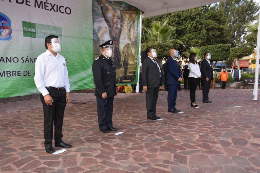 Alcalde de Soledad encabeza acto cívico en conmemoración de la Independencia de México