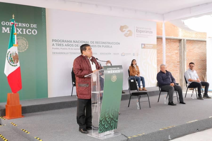 Miguel Barbosa reconoce el esfuerzo del gobierno federal para reparar daños ocasionados por sismos